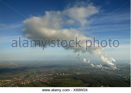 Aerial view, EON, Scholven Plant, cloud from the energy plant, Herten, Ruhr Area, North Rhine-Westphalia, Germany, Europe - Stock Photo