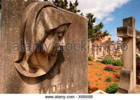 Gravestone on a cemetery near Santanyi, Majorca, Spain, Europe