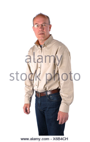 Studio shot, release, cut-out, background, white, portrait, man, middle age, old person, glasses, uncertainly, seriously, shirt, - Stock Photo