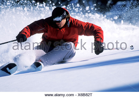 Skiing in Lake Tahoe. - Stock Photo