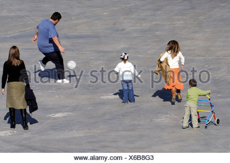 Andalusia, a family plays soccer - Stock Photo