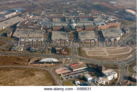 Aerial view, extension of the Centro Oberhausen mall, C and O extensions, entrance area, new amusement arcade at the Centro - Stock Photo