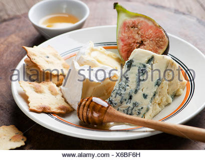 Assortment of fresh cheeses and honey with fig and crackers - Stock Photo