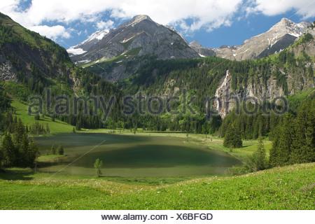Lake Lauenen, Bernese Highlands, Switzerland, Europe - Stock Photo