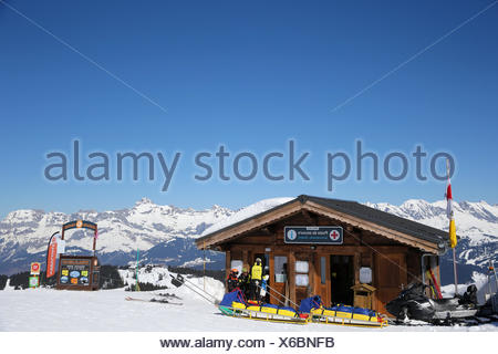 French alps. mont-blanc massif. ski patrol. - Stock Photo