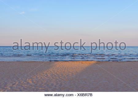 In the Evening the Sun Shines on the Beach, Bunken, Aalbaek, Baltic Sea, North Jutland, Denmark - Stock Photo