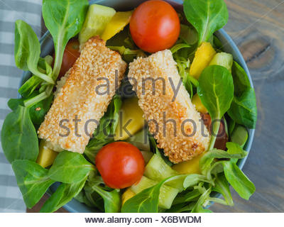 Baked feta cheese in sesame crust on mixed salad with mango - Stock Photo