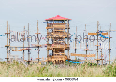obstacle course tower ready for adventure - Stock Photo