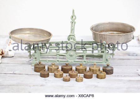 Germany, Close up of old weighing scale with balance weights - Stock Photo