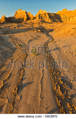 A dry stream bed leads into distance towards the eroded formations in badlands national park; south dakota USA - Stock Photo
