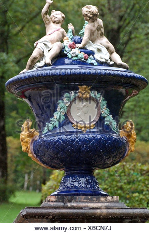 Germany, Linderhof castle, blue, vase, garden, park, decoration, Bavaria - Stock Photo