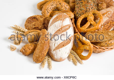 food, aliment, bread, composition, closeup, basket, studio, wholesome, variety, - Stock Photo