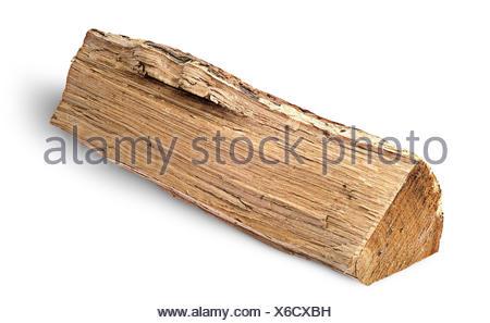 Single log of wood horizontally - Stock Photo