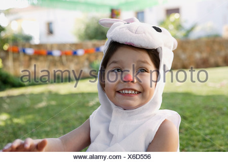Young girl in rabbit costume - Stock Photo