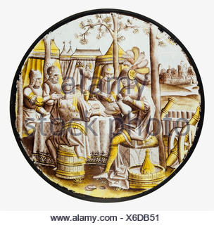 Roundel with Ben-Hadid and the Siege of Samaria. Date: ca. 1525; Geography: Made in Antwerp, South Netherlands; Culture: South Netherlandish; Medium: - Stock Photo