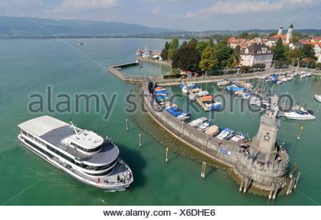 Ship entering the Lindau port, Lake Constance, Bavaria - Stock Photo