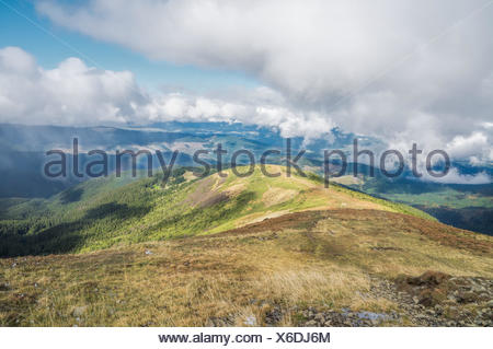 Wonderful view from Hoverla - the highest mountain of Ukraine - Stock Photo