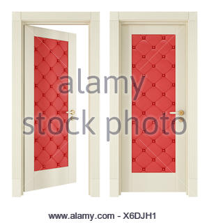 Digital Vector Image. Isolated, Door, Vintage, Leather, Closed, Upholstery,  Red, Isolated,