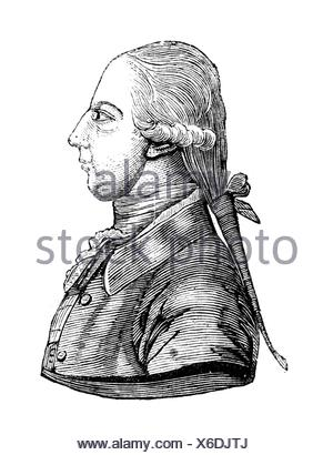 Joseph II, 13.3.1741 - 20.2.1790, Holy Roman Emperor 18.8.1765 - 20.2.1790, portrait, side-face, wood engraving, 19th century, , Additional-Rights-Clearances-NA - Stock Photo