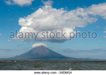 Volcanic island of Ometepe and the stratovolcano Volcán Concepción, 1610m in Lago de Nicaragua, Nicaragua, Central America - Stock Photo