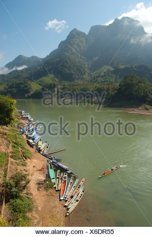 River landscape, many boats on the shore, Nam Ou river, Nong Khiao, Luang Prabang province, Laos, Southeast Asia, Asia