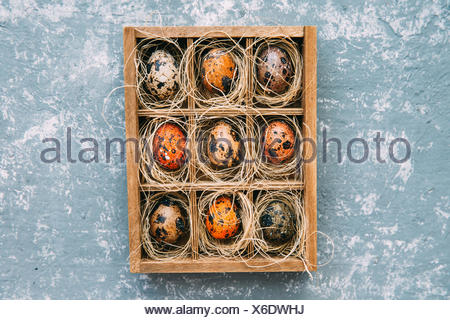 Easter eggs in a wooden box - Stock Photo