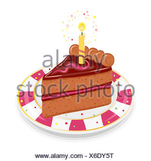 isolated brown brownish brunette candle golden illustration party celebration - Stock Photo