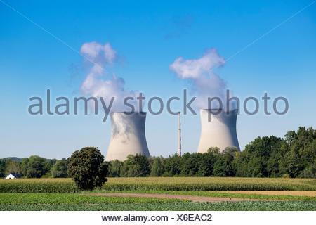 Germany, Gundremmingen, Gundremmingen Nuclear Power Plant - Stock Photo