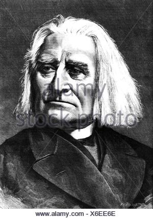 Liszt, Franz, 22.10.1811 - 31. 7.1886, Hungarian composer, portrait, wood engraving, 19th century, , - Stock Photo