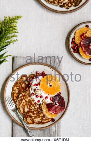 Pancakes for breakfast - Stock Photo