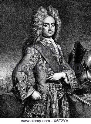Mordaunt, Charles, 1658 - 25.10.1735, 3rd Earl of Peterborough, English politician and general, half length, copper engraving, 1st half 18th century, Artist's Copyright has not to be cleared - Stock Photo