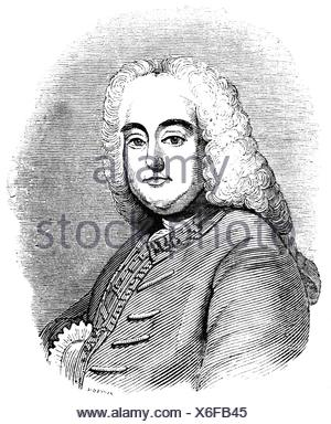 Handel, George Frederic, 23.2.1685 - 14.4.1759, German composer, portrait, etching, 19th century, , Additional-Rights-Clearances-NA - Stock Photo