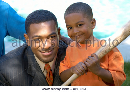 African father and son - Stock Photo