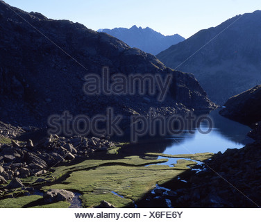 Tomasee scenery landscape lake mountain lake source of the Rhine Rhine spring source Vorder Rhine Lai da Tuma - Stock Photo