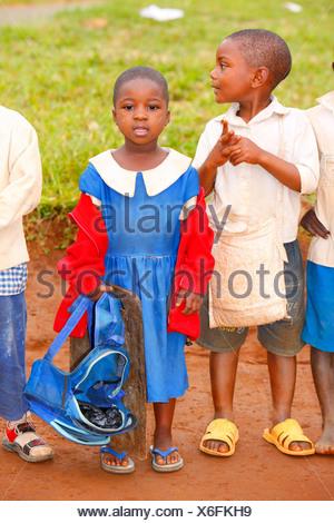 Schoolchildren in school uniforms, primary school, Bamenda, Cameroon, Africa