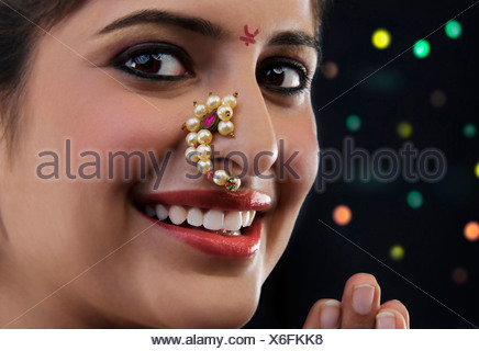 Portrait of a Maharashtrian woman - Stock Photo