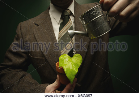 Man in suit watering a small potted plant - Stock Photo
