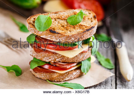 Big sandwich with ham, cheese and vegetables - Stock Photo