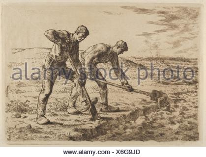 The Diggers. Artist: Jean-François Millet (French, Gruchy 1814-1875 Barbizon); Date: 1814-75; Medium: Etching on thin laid paper; fourth (final) - Stock Photo