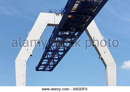 Bridge construction of a modern crane, Krefeld-Uerdingen, North Rhine-Westphalia, Germany, Europe - Stock Photo