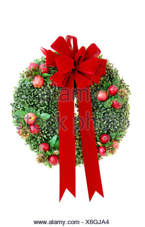 holiday, green, christmas, velvet, wreath, cutout, bow, red, xmas, x-mas, - Stock Photo