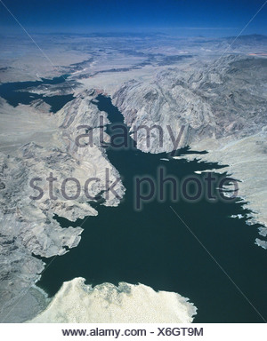 Lake Mead Reservoir, aerial view, Hoover Dam, Nevada, USA - Stock Photo