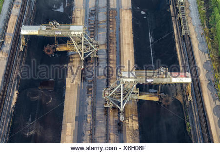 Aerial view, coal mixing plant for the Frimmersdorf Power Station, RWE Frimmersdorf, Jüchen, Lower Rhine - Stock Photo