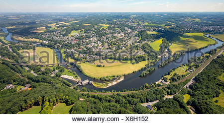 Ruhrbogen, Ruhr valley near Bommern, view from the Hohenstein to the Ruhrauen, Ruhr area, North Rhine-Westphalia, Germany - Stock Photo