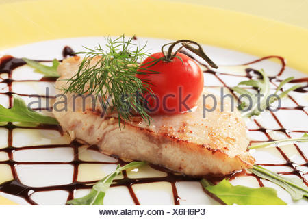 food, aliment, arrangement, detail, angle, fish, plate, sauce, decorated, - Stock Photo