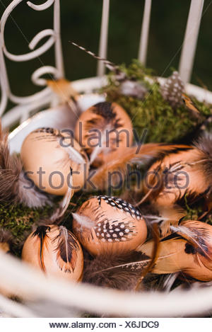 Easter nest with hen's feathers, Still life Easter - Stock Photo