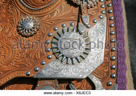 Detail on Western saddle, close-up - Stock Photo