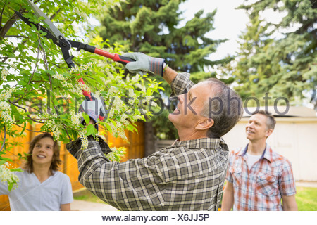 Multi-generation family pruning tree branches in backyard - Stock Photo