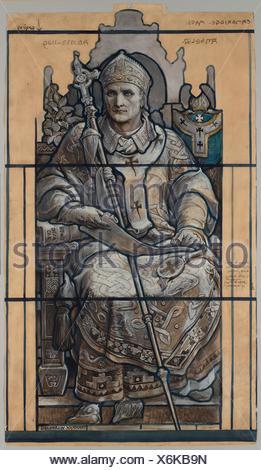 Cartoon for window, Saint Anselm, St. John´s Chapel Episcopal Divinity School, Cambridge, Massachusetts. Artist: Frederick Wilson, 1858-1932; Maker: - Stock Photo