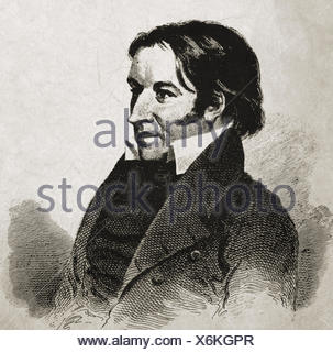 Crockett, David 'Davy', 17.8 1786 - 6.3.1836, American pioneer and politician, portrait, wood engraving, 19th century, Additional-Rights-Clearances-NA - Stock Photo